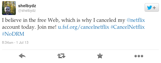 I believe in the free Web, which is why I canceled my @Netflix account today. Join me! http://u.fsf.org/cancelnetflix  #CancelNetflix #NoDRM