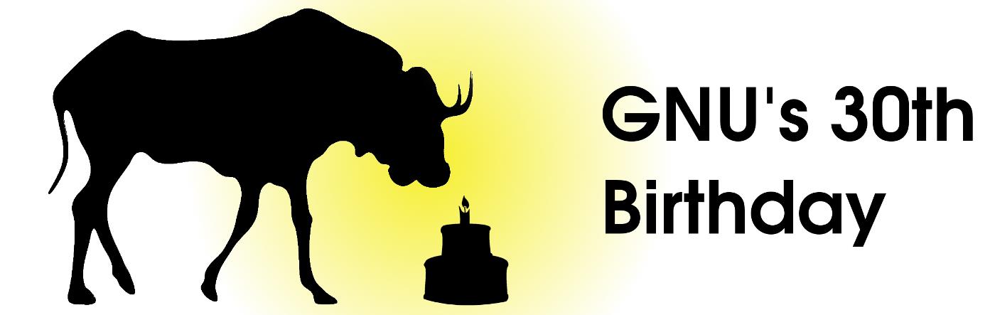Banner zur 30. Jahrestagsfeier von GNU