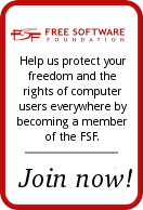 Help protect your freedom, join the Free Software Foundation