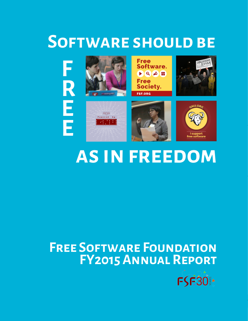 FY2015 Annual Report cover - Software should be free as in freedom