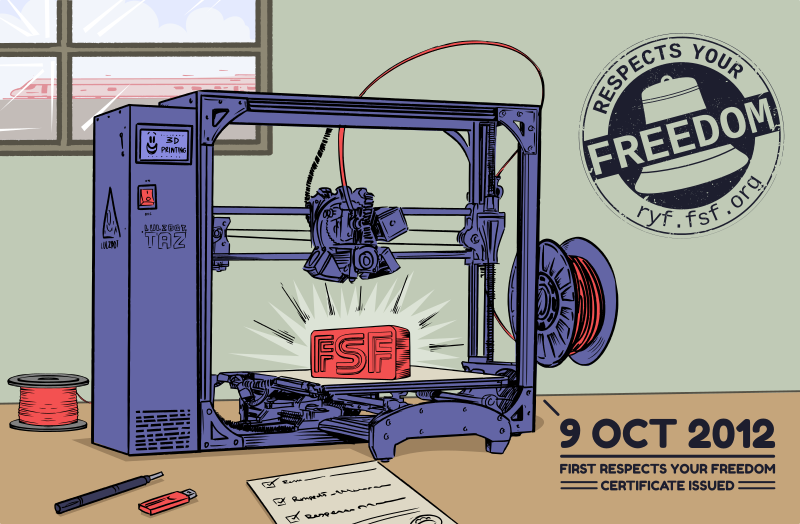 A cartoon drawing of the Aleph Objects LulzBot AO-100 3D Printer, which was the first device to receive RYF certification.
