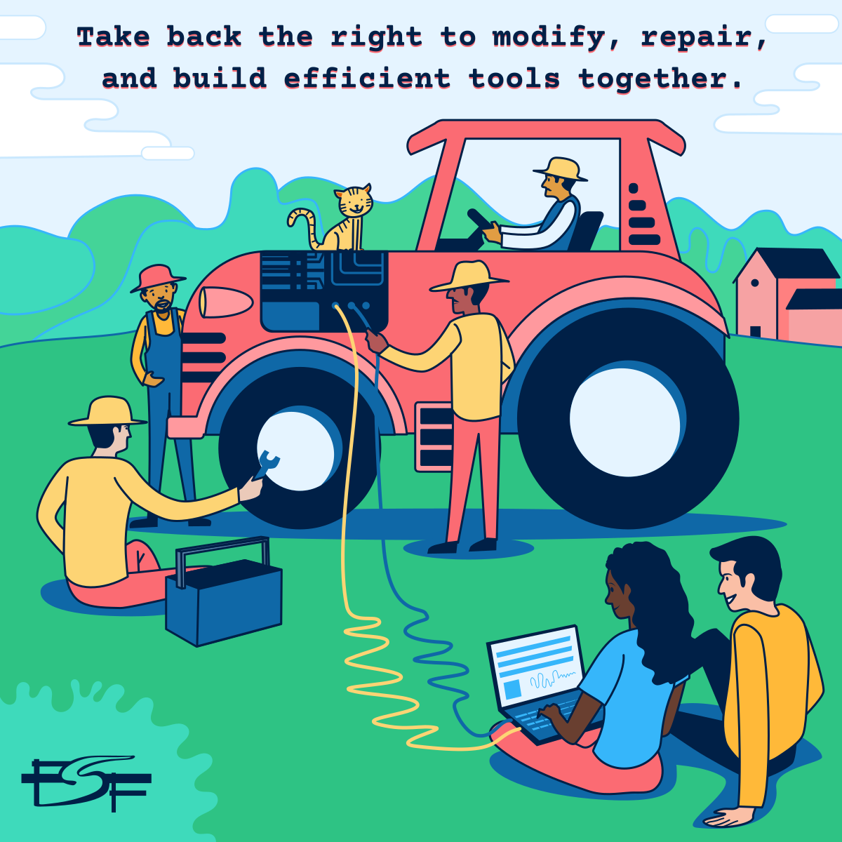Illustration of people working on a tractor together