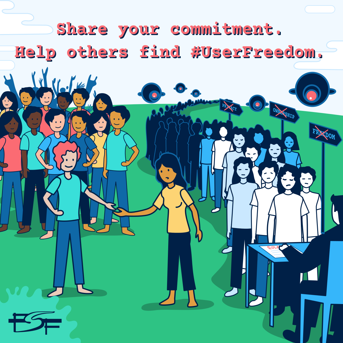 Illustration of 2 groups of people. One person reaches out to another