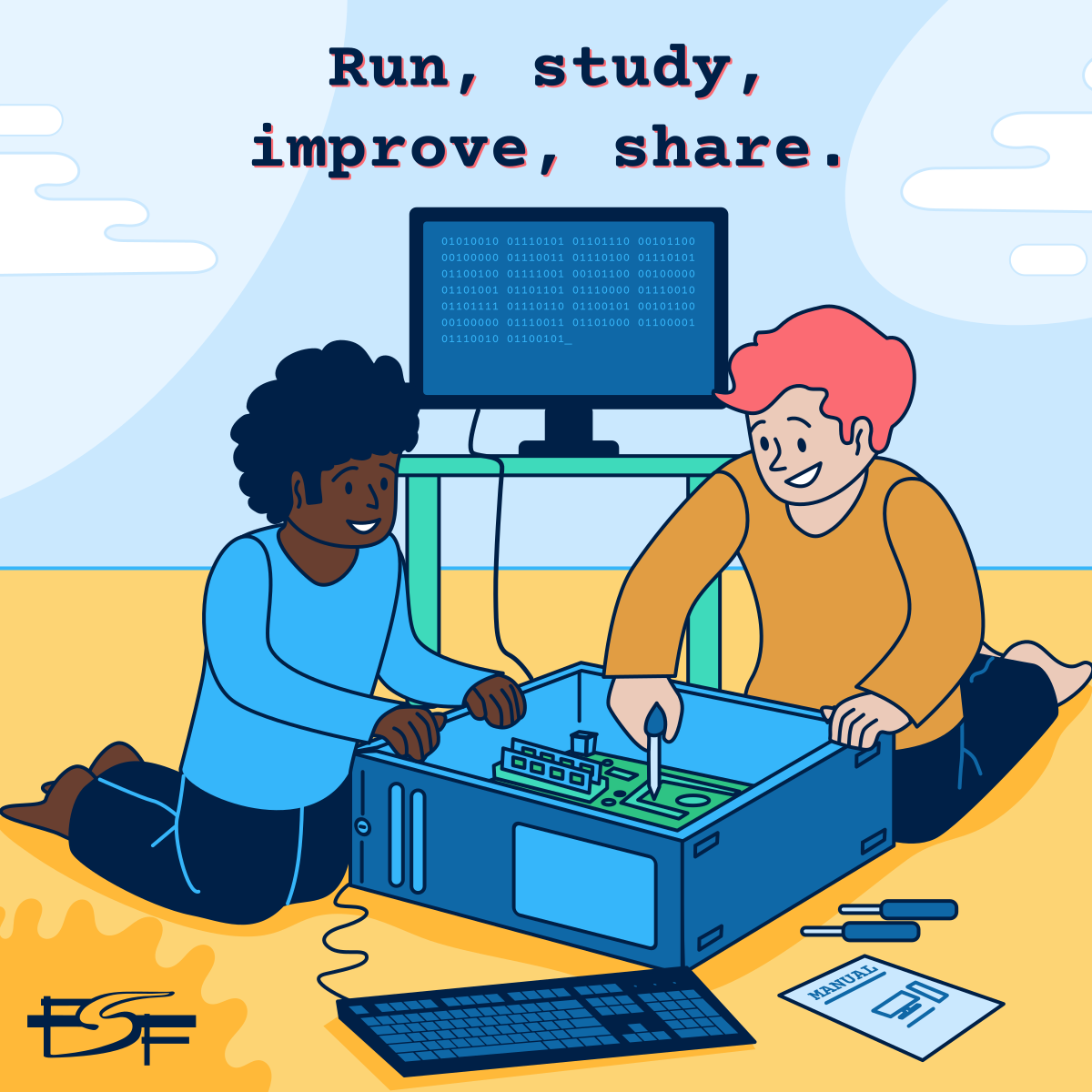 Illustration of 2 people working on a computer