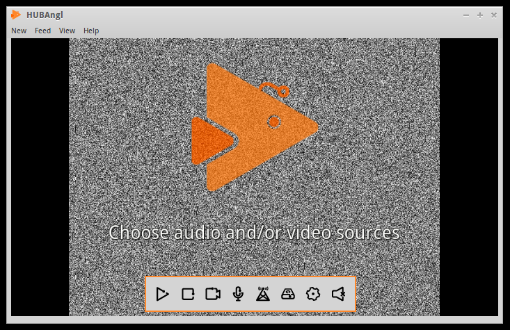 The welcome screen for the HUBAngl video streaming package. The background is black and white static, with an abstract illustration of a humpback anglerfish, orange in color, with a single antennae at the top. The caption on the screen says 'Choose audio and/or video source'.