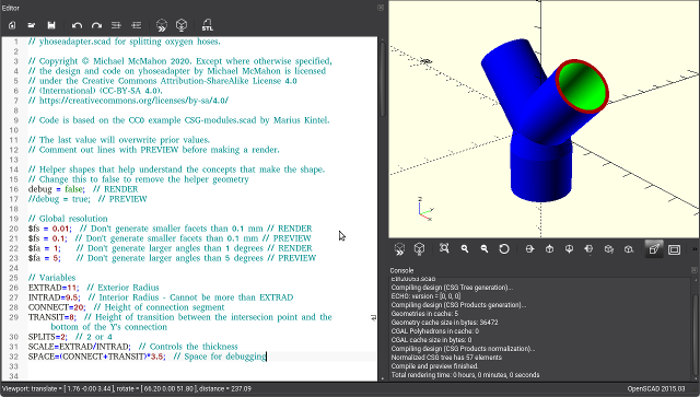 screenshot of CAD program for ventilator splitter