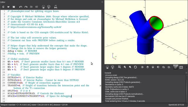 screenshot of CAD program for ventilator splitter