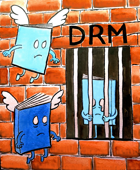 Cute winged cartoon books hover sadly around a friend imprisoned by DRM.