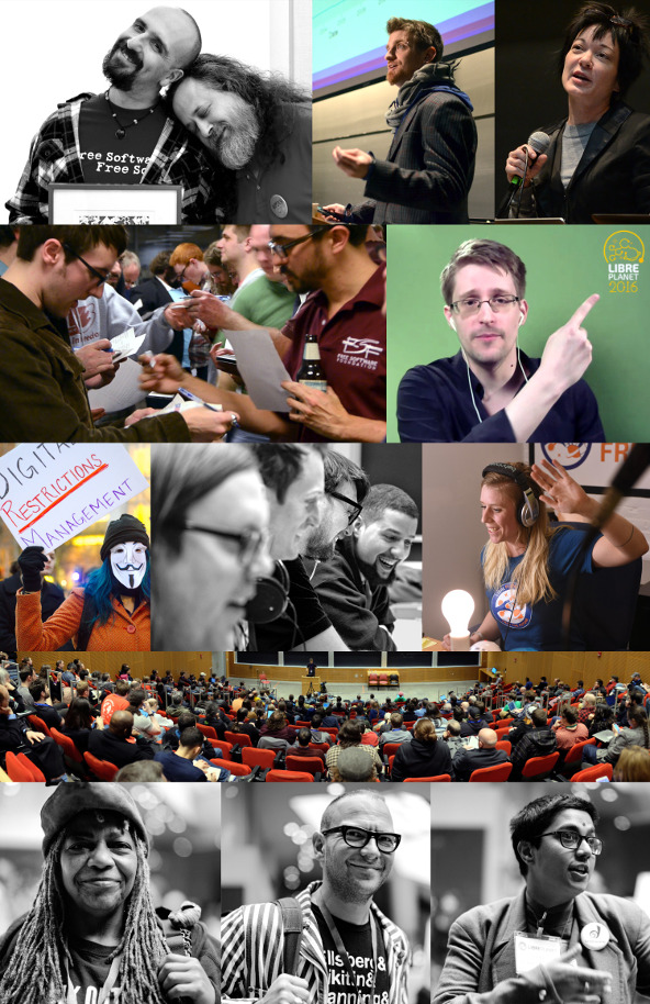A collage of photos that Ruben has taken over nine years of LibrePlanet conferences.