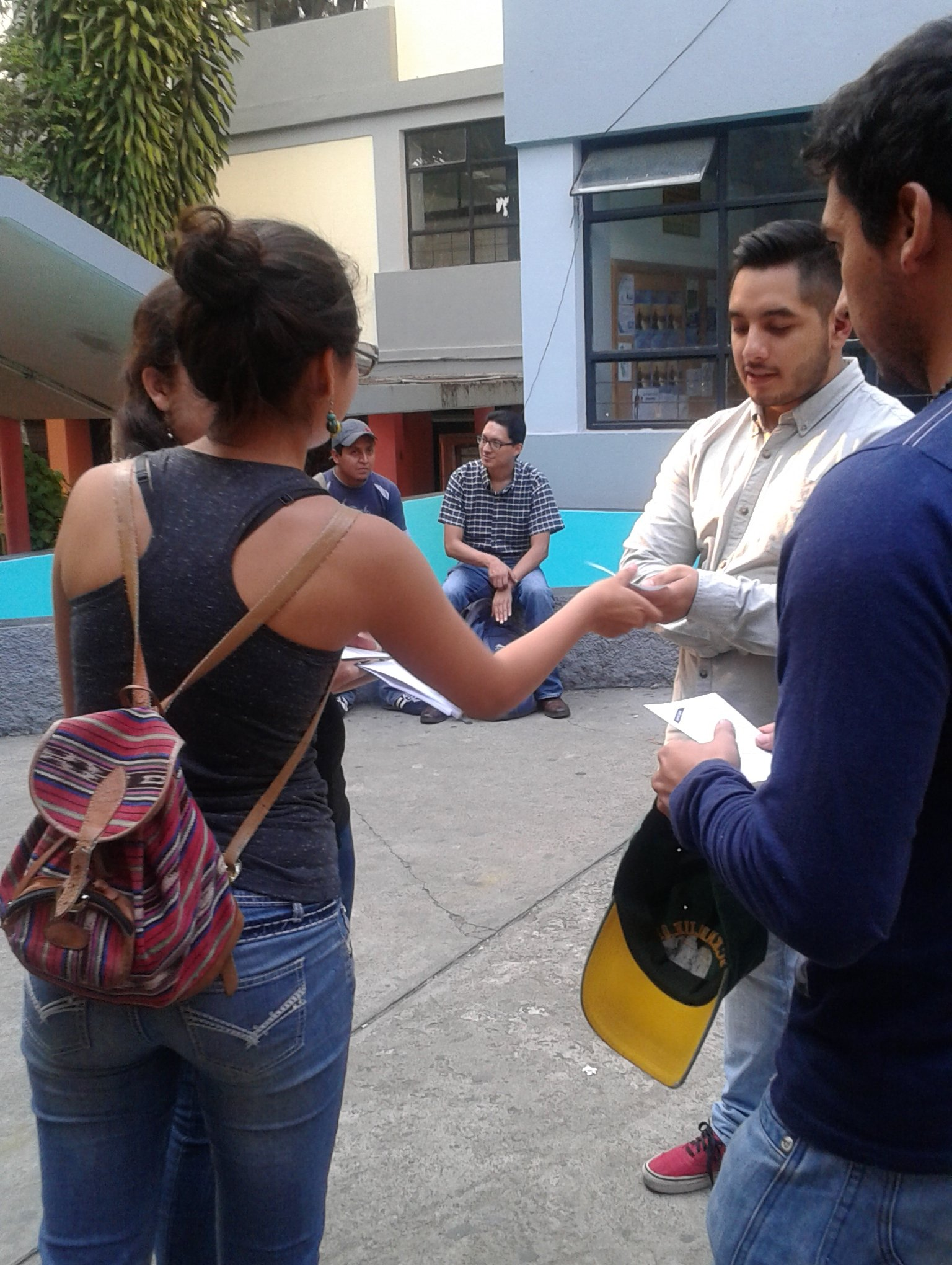 Anti-DRM activists hand out flyers in Guatemala City