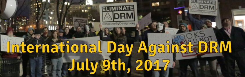 Activists protesting DRM at the World Wide Web Consortium.