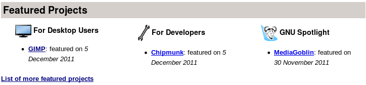 screenshot of featured projects on homepage of free software directory