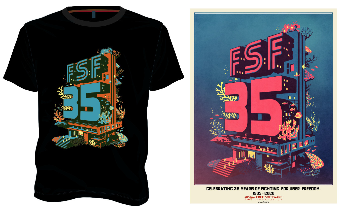 FSF35 anniversary pack (poster & t-shirt, can include pin and USB)