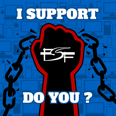 FSF spring fundraiser promo image -- black fist punching through chain with caption,