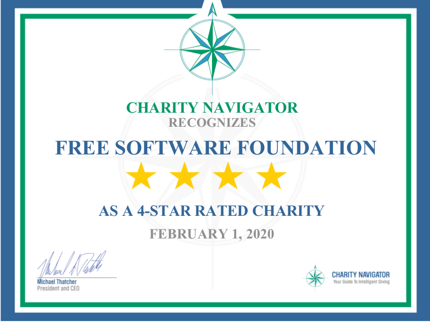 charity navigator four-star rating certificate