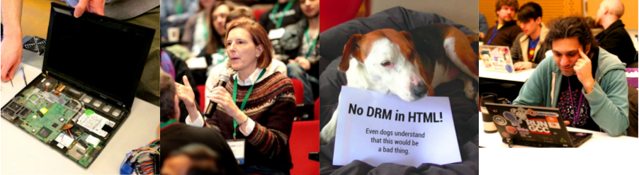 a collage of photos: a laptop with circuits exposed, a woman in the audience at libreplanet, speaking; a dog with a no drm sign; a man at libreplanet looking at his laptop