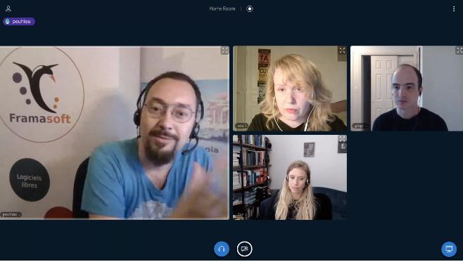 Jitsi screen with Pouhiou, Eda, Greg, Zoe