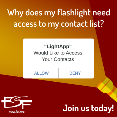 picture of flashlight illuminating text, asking why does my flashlight need access to my contact list