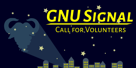 The text 'GNU Signal//Call for volunteers' in a night sky above the silhouette of a city, with a GNU symbol projected on the sky.
