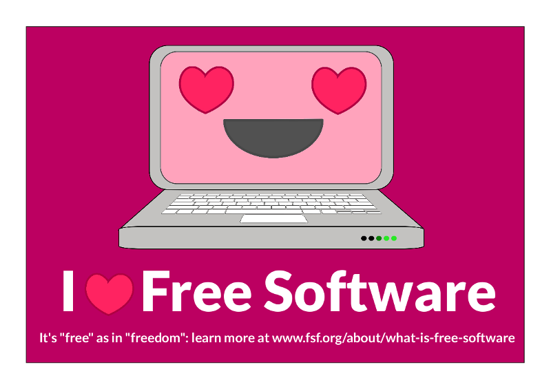 free software valentine -- pic of computer with big smile and hearts for eyes, says i heart free software