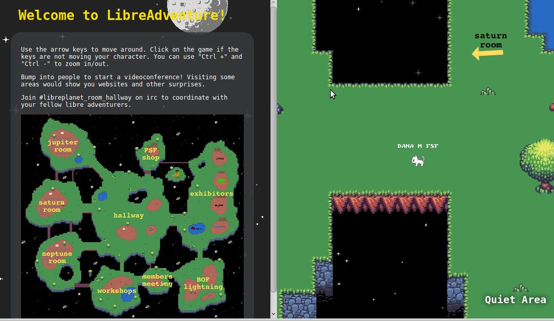 Screenshot of LibreAdventure gathering for a presentation.