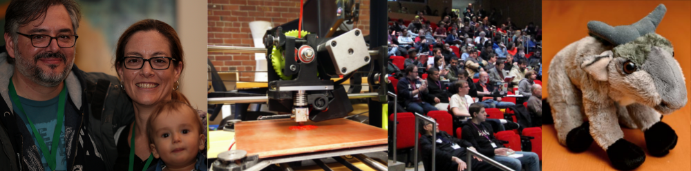 A banner image with four photos: a family, a 3d printer, the audience at LibrePlanet 2015, and a small, stuffed gnu.