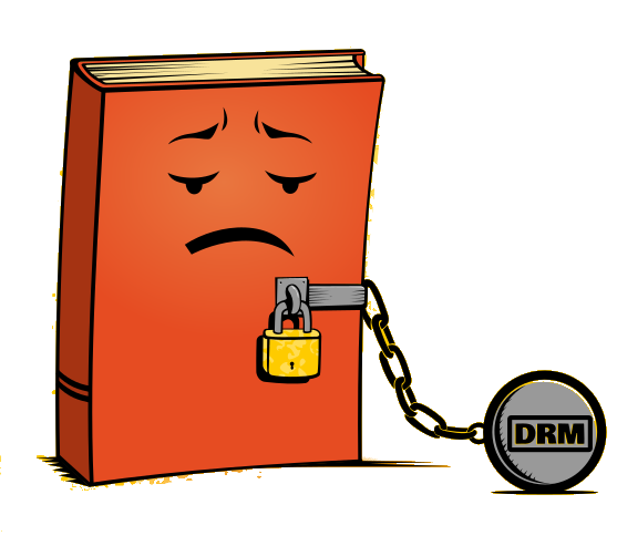 sad book shackled with DRM