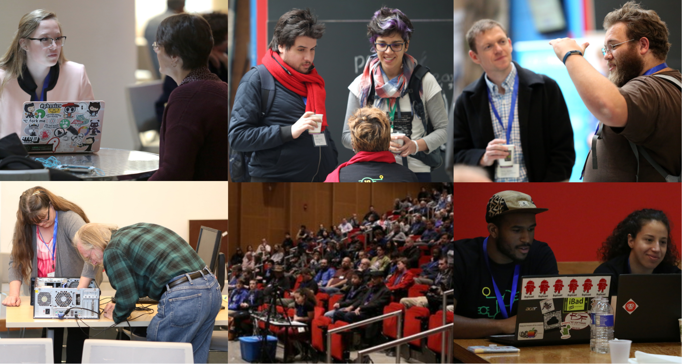 collage of pics from LibrePlanet 2018 -- by Kori Feener CreativeCommons-Attribution-Sharealike 4.0