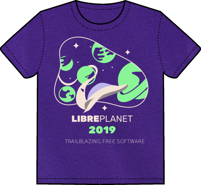 libreplanet t-shirt -- purple shirt with design of planets