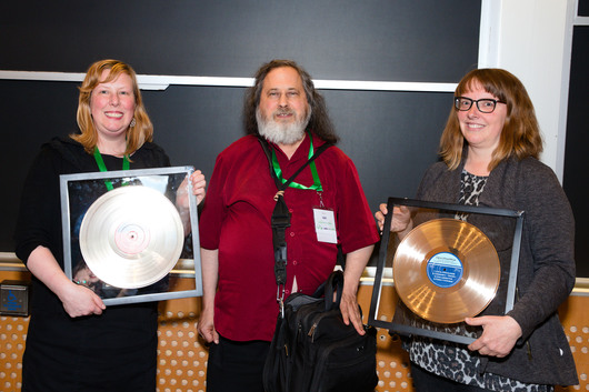Richard Stallman with Free Software Awards winners Deborah Nicholson and Kate Chapman