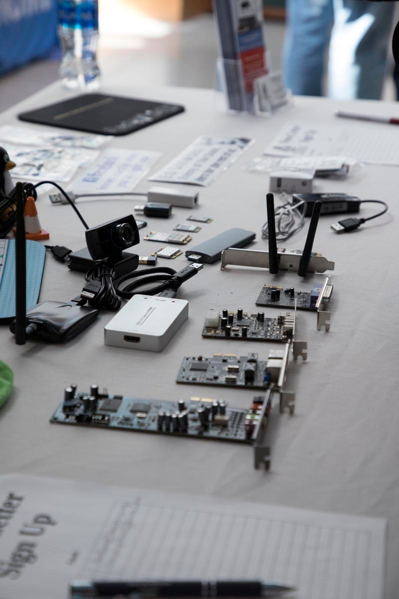 close-up of an exhibitor table with computer parts laid out