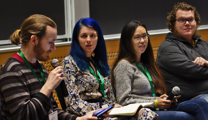 [ Edward Platt, Valerie Young, Christopher Webber, Amy Zhang sitting together as co-panelists at LibrePlanet 2019.  ]
