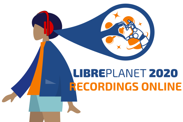 [ Illustration of a woman listening to a LibrePlanet recording. ]