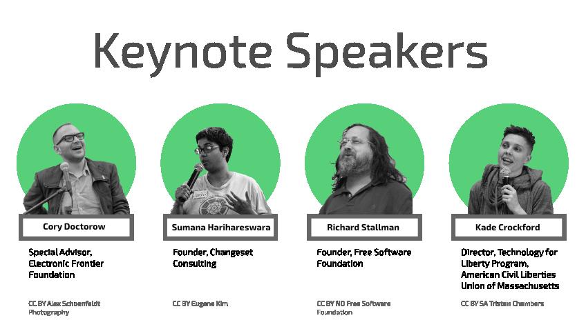 [ 2017 Keynote Speakers: Cory Doctorow, Kade Crockford, Richard Stallman, Sumana Harihareswara ]
