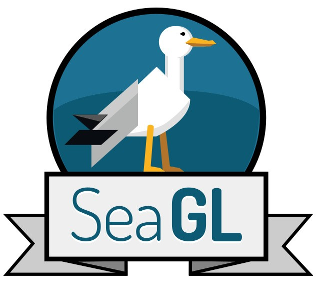 The Seattle GNU/Linux conference logo, a stylized seagull in a profile view, on a blue background. This image is released under a Creative Commons 0 license.
