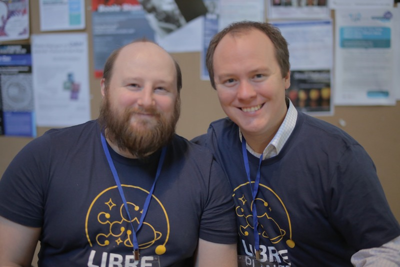 FSF Licensing and Compliance Manager Donald Robertson with former staff member Joshua Gay at LibrePlanet 2016.