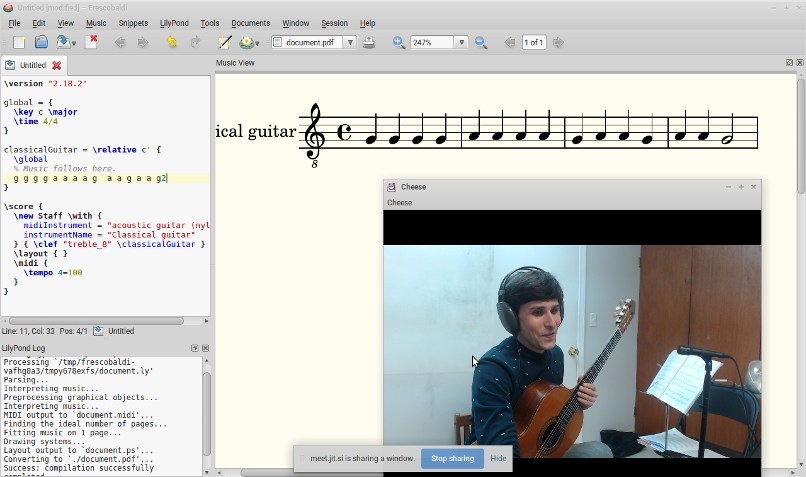 A screenshot from Devin's teaching session using Jitsi Meet for his student's guitar lesson.