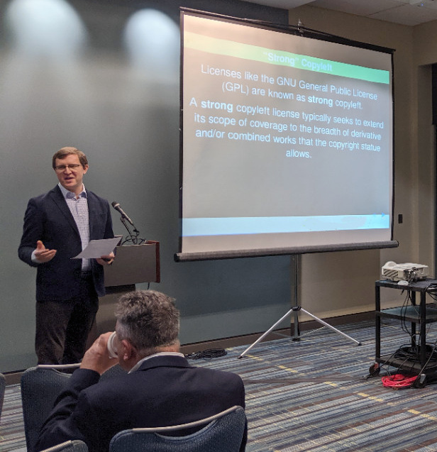 John Sullivan, Executive Director of the FSF, does a presentation at the FSF Continuing Legal Education Seminar in Raleigh, North Carolina, in October 2019.