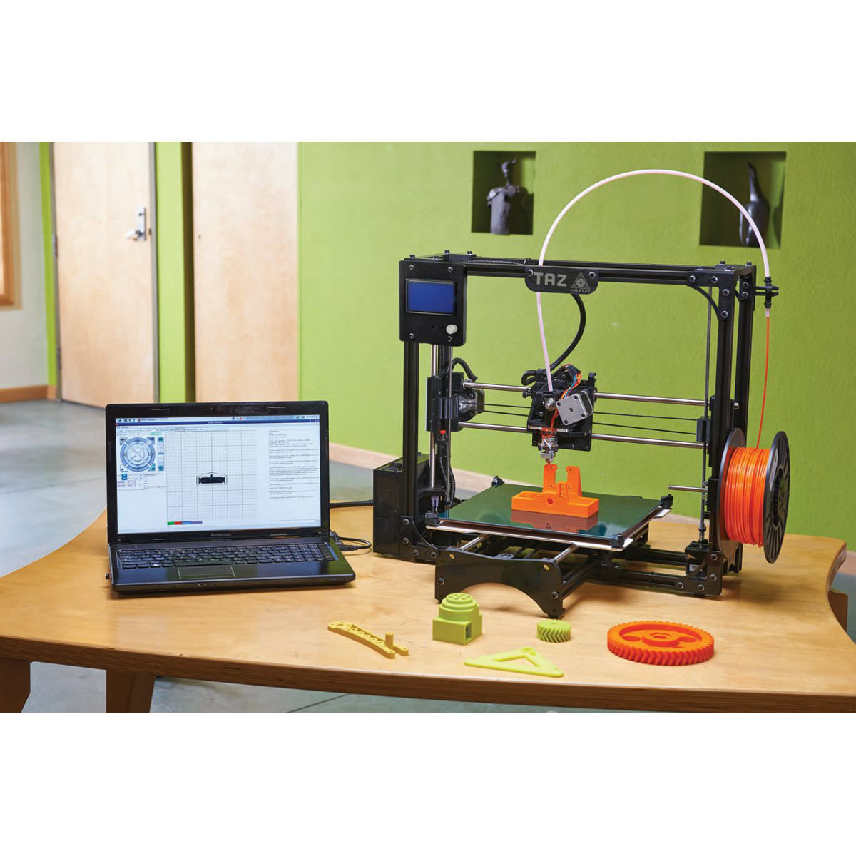 TAZ 2.0 3D printer with printed objects