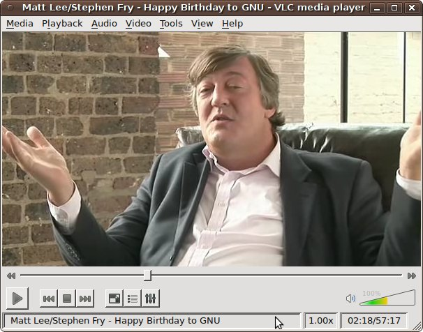 VLC Playing 'Happy Birthday to GNU' with Stephen Fry